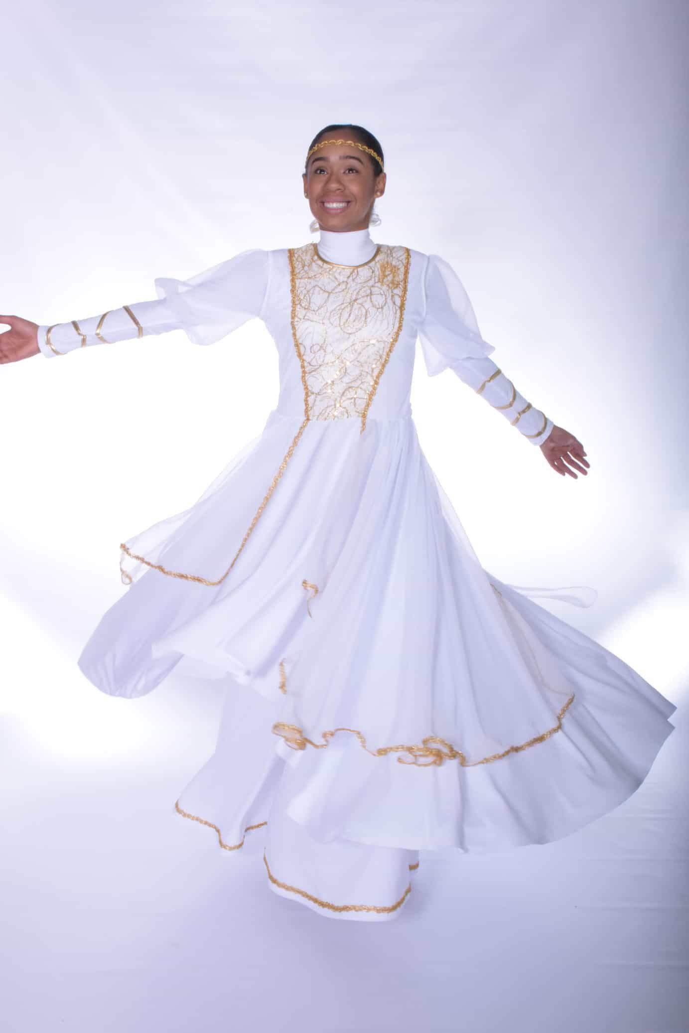 6a67330bfabb The Bride Cascade Tunic (White/Gold)