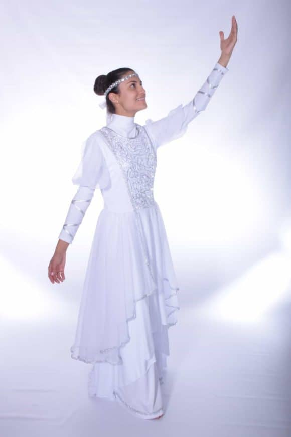 LD-42 The Bride Cascade Tunic (White-Silver) 3
